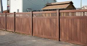 Wood Grain Vinyl Fence Installation